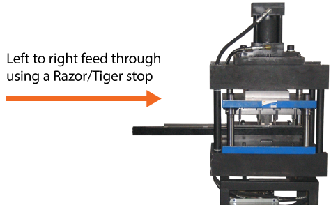 diagram mirror image punching press left to right  feed though guide using a razor stop
