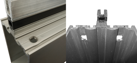 Alternate views of the smaller aluminum curtain wall industry extrusion highlighting the  countersunk top punched holes and their difficult placement in between screw chasers.