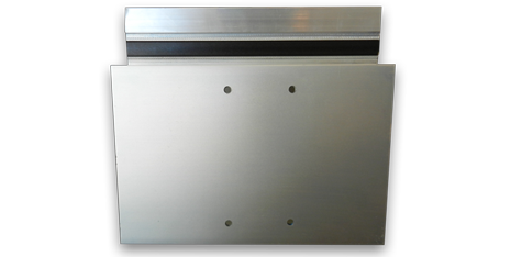 side view of mounting holes punched into the aluminum curtain wall extrusion
